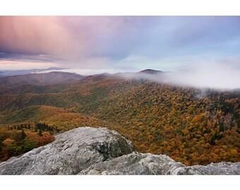 Autumn Sunrise, Fine Art Photo Print, Blue Ridge, Nature, Landscape, Photography, Devils Courthouse, Appalachian, Fall Color, Mountains