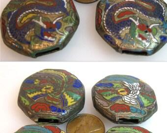 Unique 8 Antique Chinese Gilt Cloisonne Dragon Phoenix Belt Slides 8 Octagonal on Copper