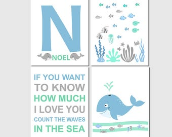 Blue and green nautical art print - UNFRAMED - neutral gender art, typography, sea animals, whale, Noel, letter N, ocean, crab