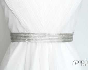 MARIANNE SILVER - Beaded Silver Wedding Sash, Bridal Belt