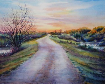 levee road, landscape painting, marsh painting, watercolor art, watercolor print