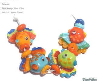 MR. FISH Handmade Lampwork Beads  -  Colorful Fish in Red Yellow Blue Green Bright and fun !