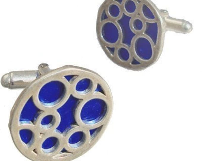 Round sterling silver Blue bubble cufflinks