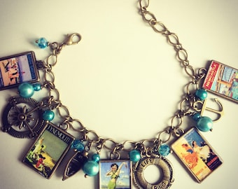 North East Coast Vintage Poster Charm Bracelet - Handmade, Unique (FREE or LOW COST shipping)