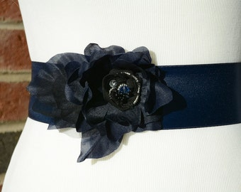 Pure Silk Navy Flower Bridal Sash, Navy Wedding Sash, Navy Flower Sash. Navy Satin Sash. Navy Bridal Applique for Dress.