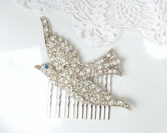 Vintage Dress Sash Brooch OR Hair Comb, Art Deco Silver Pave Rhinestone Swallow Hair Piece, 1920s Vintage Wedding Bridal Bird Headpiece