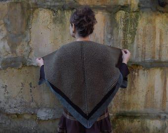 Knitted shawl,  wool shawl, Claire shawl wrap, highlands shawl, triangular chunky shawl, green brown shawl, Scotland style