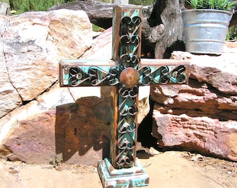 LARGE Wood and Iron Standing Cross Rustic Custom made USA 0372