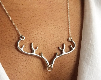 Deer Necklace, Silver Antler Necklace, Stag Necklace, Elk Necklace, UK Seller,Mothers Day Gift