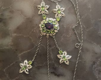 Silver 925 Natural Peridot / Amethyst  and  Zirconium  Necklace 24 inch  New (Other)