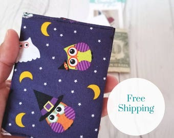 Owl Wallet, Halloween Wallet, Orange Polka Dot Wallet, Small Women Wallet, Business Card Wallet, Credit Card Wallet, Gift Card Holder