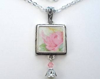 Broken China Necklace Pink Rose Floral Charm Pendant Vintage Porcelain Jewelry by Charmedware