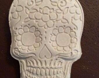Day of the Dead Skulls, plaster half heads, sugar skulls, semi head , mixed media, gothic skull, craft heads, plaster skull, sculpture