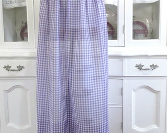 Long Vintage Apron Handmade Half or Waist Apron, Kitchen Hostess Apron, Purple and White Gingham with Dark Purple Ties, Sweet Vintage Linens