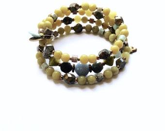 Wraparound Olive Jade Beaded Bracelet
