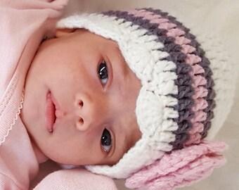 Baby Girl Hat, Ready to Ship, Crochet Newborn Hat, Baby Girl Beanie, Newborn Baby Hat, Newborn Photo Prop, Baby Newborn Hat, White Pink Grey