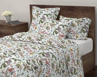 Duvet Cover, Pressed Flowers Design, Twin, Queen, King Duvet Cover
