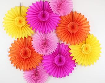 Birthday Party Decorations - 9 Tissue Paper  Flower Fans, children's birthday parties , bridal showers, girl birthday