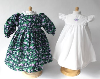 """Doll Dress for 18"""" doll, purple floral"""