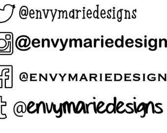 Custom decals, social media, monograms, car decals, iPhone, iPad, iPod decals,