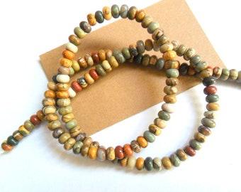 4mm Red Creek Jasper Rondelle Shape Beads Strand