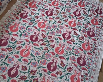 Large size,Bed Covers,bedspread,handmade textile,suzani silk, wall hanging, table cover ,handmade cover,suzani