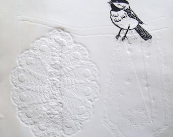 Chickadee on a Clothesline - Blind Emboss Print
