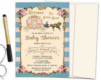 Once upon a time baby shower invitation, Cinderella carriage vintage baby shower invitations, Fairytale baby shower invites, personalized