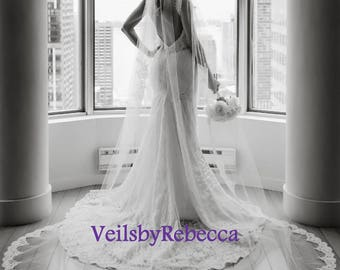 1 tier Cathedral lace veil with lace from fingertip/wrist length,Partial lace cathedral wedding veil, long cathedral lace veil V638