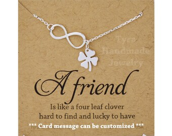 Four leaf clover Infinity necklace,shamrock necklace,Infinity lariat,lucky charm,Best friend gift,St Patricks Day gift,sisterhood,note card