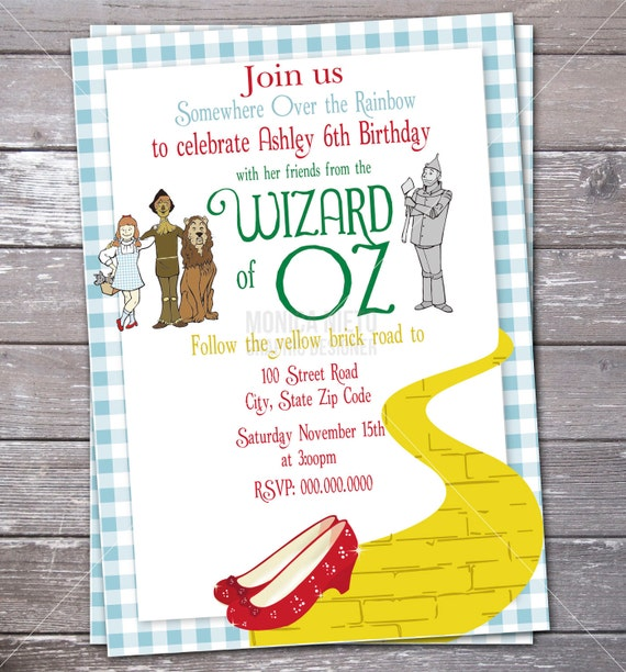 Wizard of Oz Birthday Party Invitation Over the Rainbow