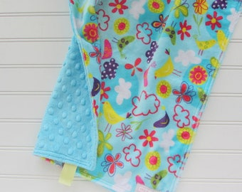 Floral Flowers and Birds Baby Lovey, Baby Girl Security Blanket, Baby Lovey Blanket, Aqua Baby Lovey, Aqua Floral Baby Girl Gift