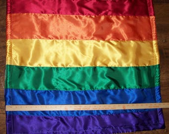 "Rainbow colors satin baby blanket custom made NEW 31"" by 32"""