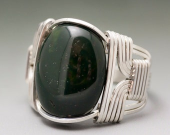 Bloodstone Heliotrope Gemstone Cabochon Sterling Silver Wire Wrapped Ring - Made to Order and Ships Fast!