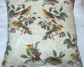 Golden Finches and berries cushion