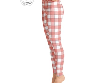 Red & White Plaid Leggings | Fall Leggings | Yoga Clothes | Yoga Tights | Gym Leggings | Simple Leggings | Yogawear | Yogagear | Loopy Jayne