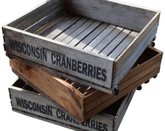 Save 50% on a Set of 3 Wheeled Wooden Wisconsin Cranberry Crates for Storage, Plants, Toys.