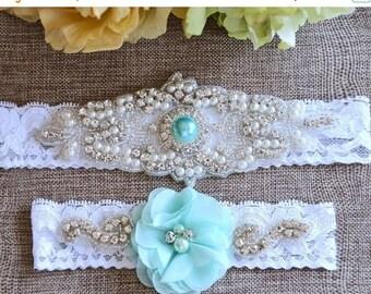 ON SALE Aqua-Mint - Light Green Wedding Garter, Mint Garter, Crystal Wedding Garter, Bridal Garter , Lace Garter, Wedding Garter, Turquoise