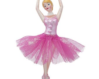 "6.75"" Dancing Ballerina in a Pink Dress Glass Christmas Ornament"