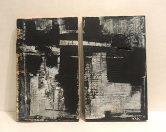 No.55 Original California Minimal Diptych Abstract Painting On Reclaimed Wood by K.A.DavisArt.