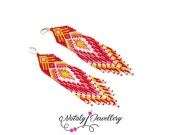 Pink red long earrings Boho jewelry Beaded jewelry Ethnic jewelry Bohemian jewelry Statement earrings Dangle tribal earrings Fall earrings