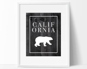 California Wood Art Print - Wall Art - Home Decor - Office Decor - California Decor - Typography