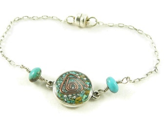 Orgone Energy Petite Stacking Bracelet in Antique Silver with Turquoise Gemstone - Delicate Bracelet -Orgone Energy Jewelry -Artisan Jewelry