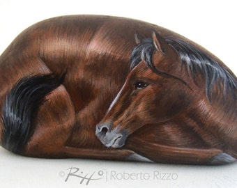 Hand Painted Mustang Horse On a Sea Stone | Hand Painted Rocks Art by Roberto Rizzo