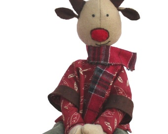 Ruben reindeer soft toy sewing pattern. fabric christmas reindeer