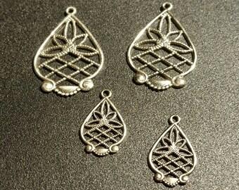 SALE !!! Antiqued Pewter Lotus Flower Chandelier Findings ... set of 2 Pairs