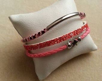 Mini bracelet cuff pink triple leather cord and insert silver