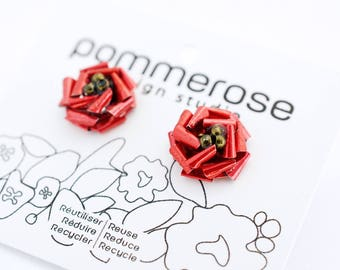 Red roses earrings, upcycled from aluminum soda cans.