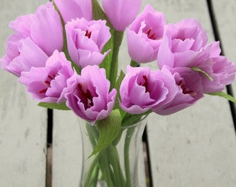 12 Handmade paper tulips for Mothers day