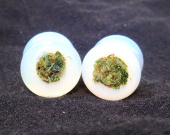 Healing Opal Cannabis Filled Plugs-Weed Plugs-Opalite Plugs-Real Weed Plugs-Opal Tunnels-Ganja Jewelry-Ganja-Plugs-Gifts for Stoners-Weed
